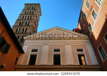 ROME, ITALY, Basilica of Saint Sylvester the First , the exterior with the romanesque bell tower #1209411070