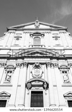 Rome, Italy. Church of the Gesu (Italian: Chiesa del Gesu) - mother church of Jesuits. Black and white vintage style.