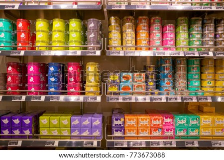 ROME, ITALY - CIRCA NOVEMBER, 2017: a variety of tea on display at a second flagship store of Rinascente in Rome. #773673088