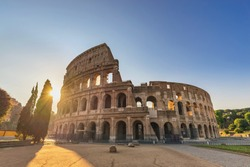Rome Italy, city skyline sunrise at Rome Colosseum empty nobody