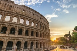 Rome Italy, city skyline sunset at Rome Colosseum empty nobody