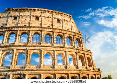 Rome, Italy. Colosseum in Roma, Italia. Symbol of the ancient city. Amphitheatre in sunset light.
