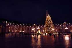 Rome, ITALY - December 11, 2017: Saint Peter's square with huge Christmas tree at night. ROME - December 11, 2017