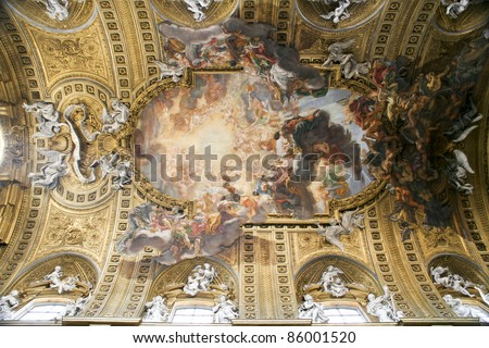 Rome, Italy. Famous painting in the ceiling of Gesu Church (Chiesa del Gesu) - Triumph of the Name of Jesus, by Giovanni Battista Gaulli
