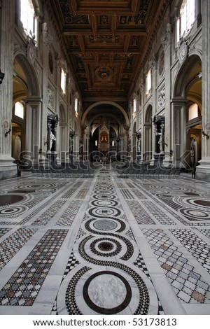 Rome, Italy - famous Papal Archbasilica of St. John Lateran, officially the cathedral of Rome. Baroque interior.