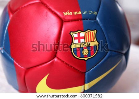 Rome, Italy: feb 17. 2016 - Illustrative and Editorial image of FC Barcelona soccer ball on soccer field.