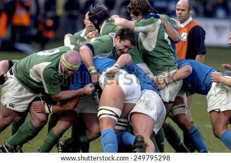 ROME, ITALY-FEBRUARY 06, 2005: rugby players scrum during the Six Nations rugby tournament match Italy vs Ireland, in Rome.