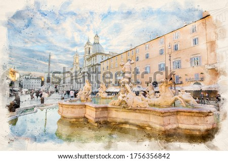 Rome, Italy. Fontana del Nettuno (Fountain of Neptune) and Fountain of the Four Rivers with an Egyptian obelisk and Sant Agnese Church in Piazza Navona. Watercolor style illustration