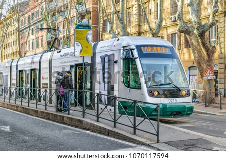ROME, ITALY, JANUARY - 2018 - Modern public transport at stop bus in Rome city, Italy