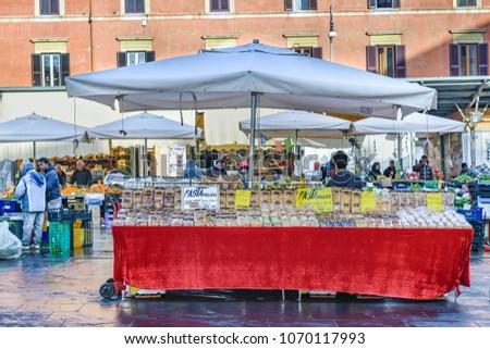 ROME, ITALY, JANUARY - 2018 - Urban winter scene at street fair in Rome city, Italy
