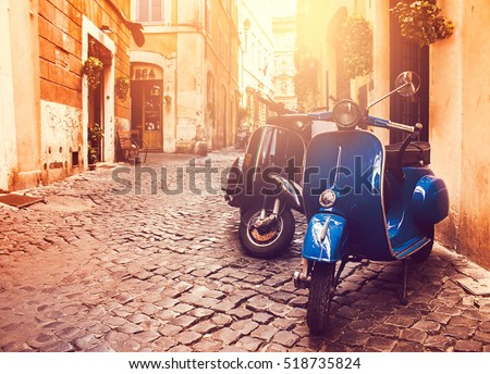 stock photo rome italy july two scooter vespa parked on old street in rome italy 518735824 - Каталог — Фотообои «Улицы, переулки»