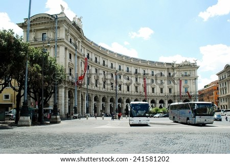 ROME, ITALY - JUNE 1: Rome city life. View of Rome city Piazza della Reppublica on June 1, 2014, Rome, Italy.