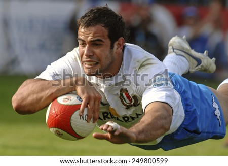 ROME, ITALY-MARCH 15,2008: italian rugby player Gonzalo Canale jumps to score a try during the Six Nations rugby tournament match Italy vs Scotland, in Rome.