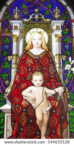 ROME, ITALY - MARCH 08: Mother and Child, stained glass in Vatican Museum on March 08, 2011 in Rome, Italy - stock photo
