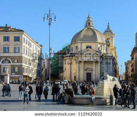 "Rome. Italy. 11. March. 2017. Piazza del Popolo Square. Basilica of Santa Maria in Montesanto.  In the Church of Santa Maria in Montesanto there is a ""Mass of Artists"""