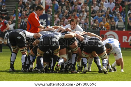 ROME, ITALY-MARCH 15, 2008: rugby players scrum during the Six Nations rugby tournament match Italy vs Scotland, in Rome.