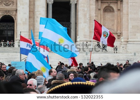 ROME, ITALY - MARCH 17: South American flags (Argentina, Peru, Paraguay) in St. Peter Square before the first Angelus prayer of Pope Francis I on March 17, 2013 in Vatican City, Rome, Italy