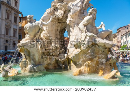 ROME, ITALY - MAY 9, 2014: Fountain of the Four Rivers at Piazza Navona. Piazza Navona is one of the main tourist attractions of Rome.