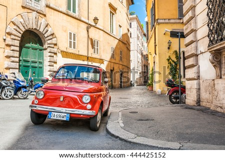 stock photo rome italy may red vintage fiat nuova parked in the old street in rome 444425152 - Каталог — Фотообои «Улицы, переулки»
