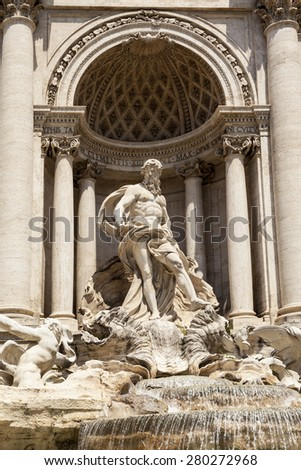 ROME, ITALY - MAY 21, 2014:  the Trevi Fountain. Trevi Fountain is an iconic symbol of Imperial Rome. It is one of Rome\'s most popular tourist attractions.