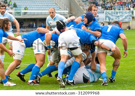 ROME, ITALY - NOVEMBER 18 2006. Rugby test match Italy-Argentina. Scrum action during match