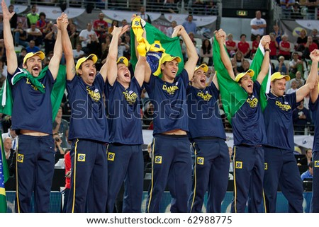 ROME, ITALY - OCTOBER 10: Brazil team celebrates victory after Volleyball World Championships  final match Brazil vs Cuba at Palalottomatica in Rome on October 10, 2010 - stock photo