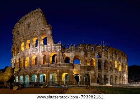 Rome, Italy - October 13, 2016: Coliseum in Rome at night