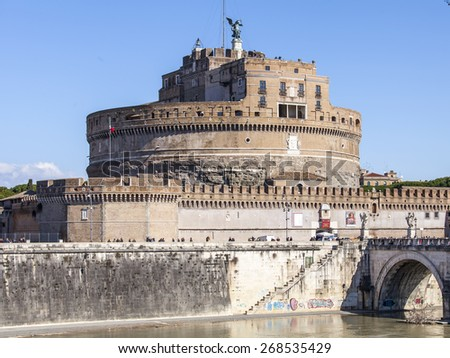 Rome, Italy, on March 6, 2015. Castle of the Sacred Angel (Adrian's mausoleum, II century)  #268535429