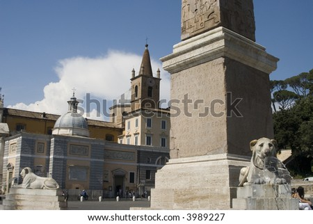 rome italy piazza del popolo statues and hsitoric buildings