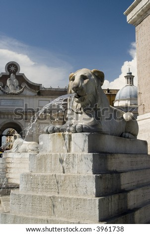 rome italy piazza del popolo statues fountain and hsitoric buildings
