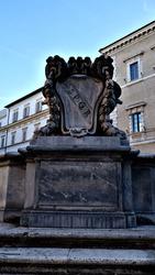 Rome, Italy. Roman symbol SPQR, Italian architecture detail