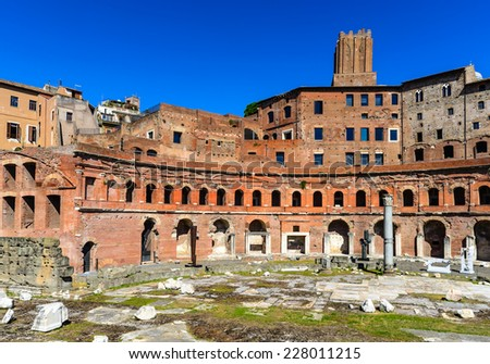 Rome, Italy. Ruins of Trajan Markets, built in 2nd century AD by Apollodorus of Damascus in Ancient Rome