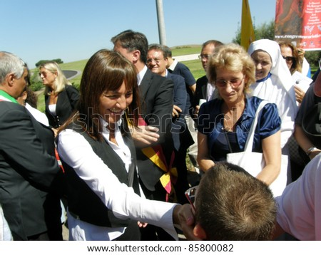 ROME, ITALY-SEPTEMBER 11: Renata Polverini, greets people during an event at the Shrine of the Divine Amore on September 11, 2011 in Rome, Italy.