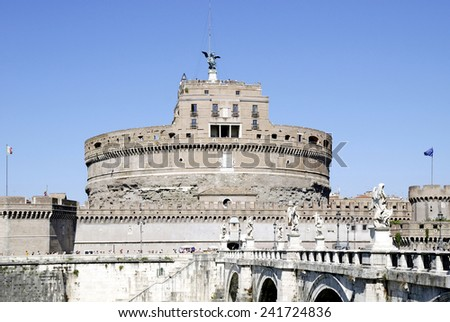 Rome, Italy - September 21, 2011: View of the Angel castle with the Angel bridge at the Tiber in Rome. #241724836