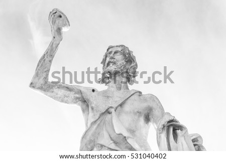 Rome (Italy) - Statue of St. John Baptist in Milvio Bridge