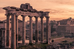 Rome, Italy:Temple of Saturn in the Roman Forum