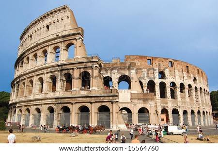 ROME, ITALY - The Colosseum, famous ancient amphitheater in Rome, Italy.