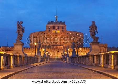 Rome, Italy The famous Castel Sant'Angelo at twilight