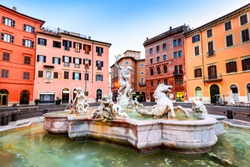 Rome, Italy. The Fountain of Neptune, at Piazza Navona. This fountain from 1576 depicts the god Neptune with his trident fight against an octopus and other mythological creatures