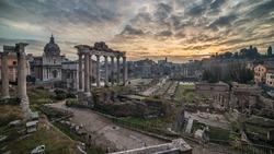 Rome, Italy: The Roman Forum, Latin: Forum Romanum, Italian: Foro Romano, in the spectacular sunrise of Italian winter. Beautiful representative picture of antique, history, time and Forever City.