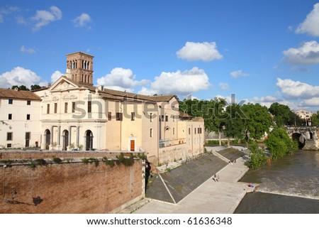 Rome, Italy. Tiber Island (Isola Tibertina), view of Basilica of St. Bartholomew on the Island. Ripa district.