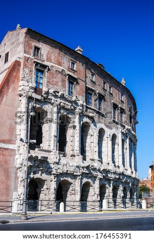 Rome, Italy. Vast amphitheater of Ancient Rome, was built by the Emperor Augustus in 23BC, who dedicated it to Marcellus, his nephew.