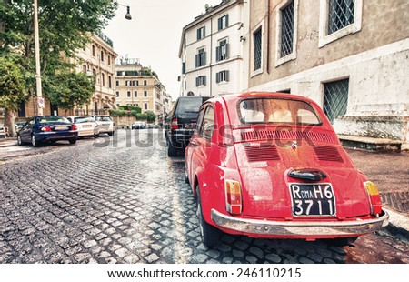 rome   june 14  vintage red...