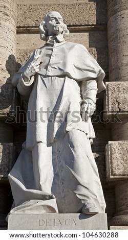 ROME, MARCH - 21: De Luca statue from facade of Palazzo di Giustizia. Giovanni Battista de Luca (1614�1683) was an Italian jurist and Cardinal of the Roman Catholic Church. March 21, 2012 in Rome, Italy