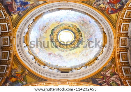 ROME - MARCH 23:  Interior of the Saint Peter Cathedral in Vatican on MARCH 23, 2012 in Rome, Italy. St. Peter's Basilica until recently was considered largest Christian church in world