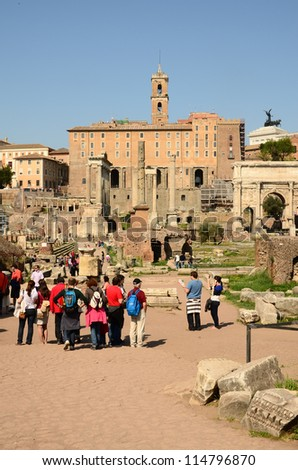 ROME - MARCH 25 : The Roman Forum area on March 25, 2012 in Rome. The Roman Forum is a rectangular forum surrounded by the ruins of important ancient government buildings at the center of Rome.