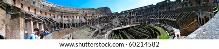 ROME - MAY 5: Panoramic view of Ancient Colosseum on May 5, 2009 at Rome, Italy. The Colosseum is probably the most impressive building of the Roman empire.