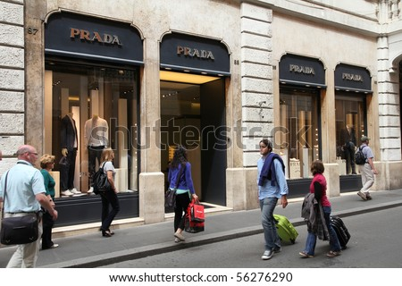 ROME - MAY 12: Prada luxury fashion boutique on May 12, 2010 in Rome. According to Trendbird, Prada is in top 10 most valuable luxury brands, with value around 3 billion USD.