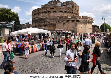 ROME - MAY 9: Tourists visit Castle Saint Angel on May 9, 2010 in Rome. Rome is 14th most visited cities in the world (5.6m international arrivals in 2010).