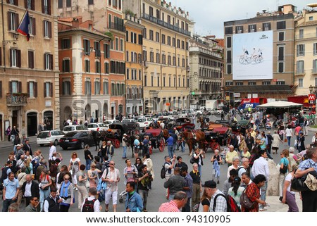ROME - MAY 12: Tourists visit Spanish Square on May 12, 2010 in Rome, Italy. According to Euromonitor's Ranking, Rome is the 3rd most visited city in Europe (5.5m int'l tourist arrivals 2009)